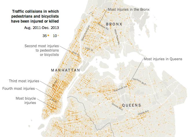 #nyc : cartographie des cyclistes et pietons blessés ou tués à new york