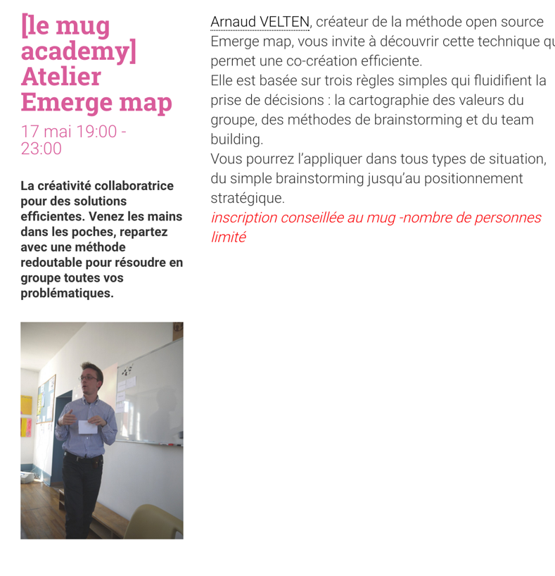 [le mug academy] Atelier Emerge map :  17 mai 19:00-23:00